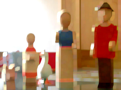 Familienaufstellung mit Holzfiguren; Foto: urb