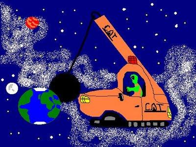 In Douglas Adams' Kultbuch Per Anhalter durch die Galaxis wird die Erde wegen einer durch das Sonnensystem geplanten Hyperraum-Expressroute von den Vogonen gesprengt.